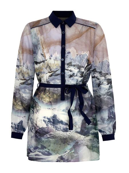 Yumi Mountain Print Shirt Dress