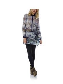 Mountain Print Shirt Dress