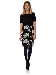 Floral Flock Pencil Skirt