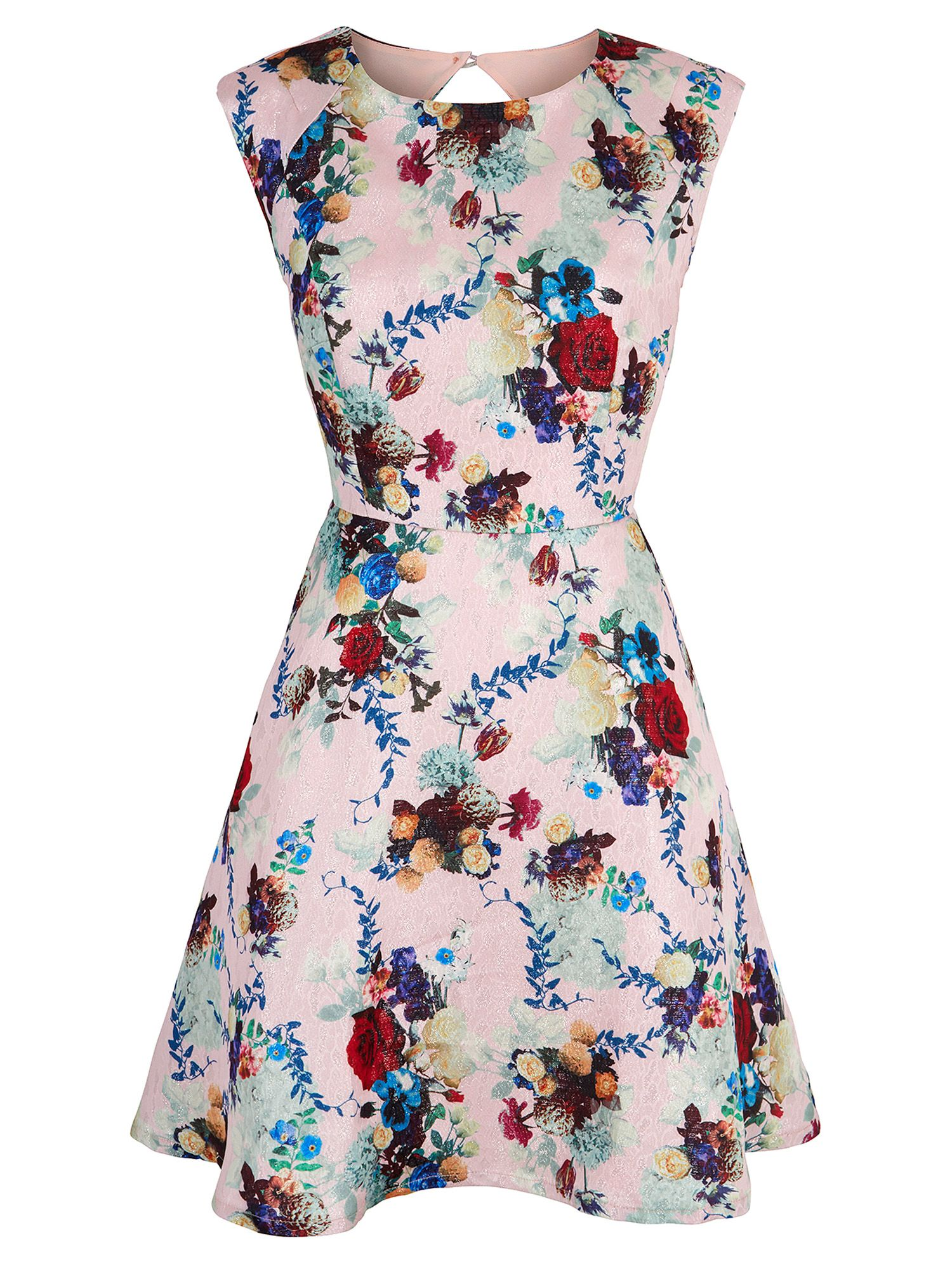 Yumi Winter Floral Print Cap Sleeve Dress, Pink