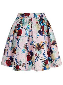 Metallic Floral Printed Skater Skirt