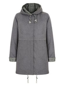 Lace Trim Parka Hood Jacket