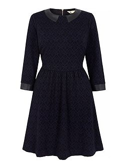 Collared Jacquard Skater Dress