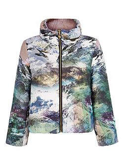 Mountain Print Puffer Jacket