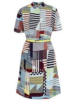 Contrast Stripe Shirt Dress