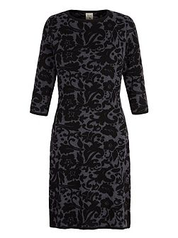 Knitted Jacquard Floral Print Dress