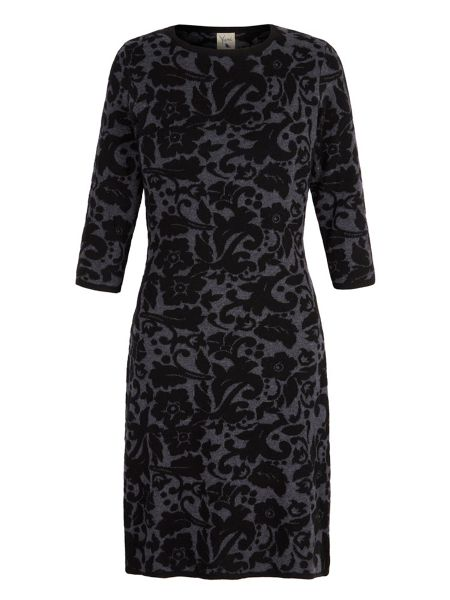 Yumi Knitted Jacquard Floral Print Dress