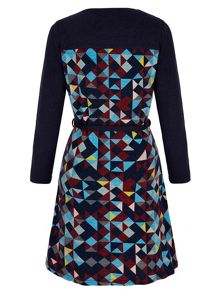 Yumi Geo Print Knitted Long Sleeve Dress
