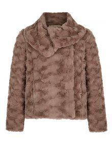 Yumi Faux Fur Shawl Collar Jacket