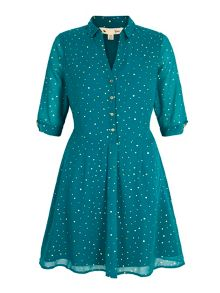 Gold Polka Dot Print Tea Dress