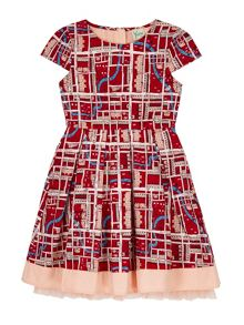 Yumi Girls Girls Notting Hill Print Box Pleat Dress