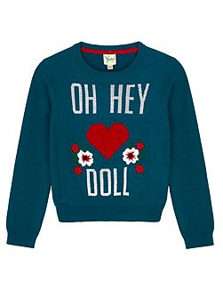 Statement Print Embroidered Jumper