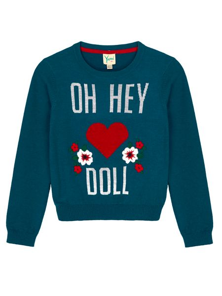 Yumi Girls Statement Print Embroidered Jumper