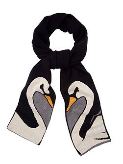 Swan Print Knitted Scarf