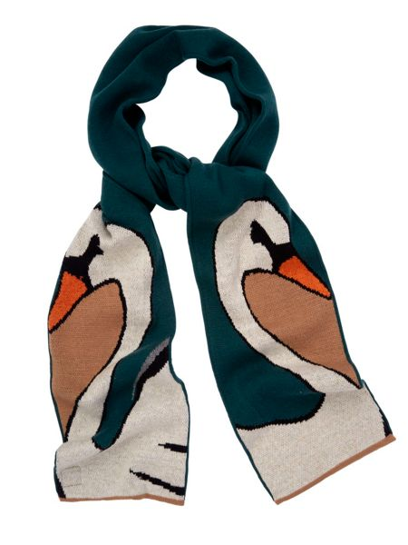 Yumi Swan Print Knitted Scarf