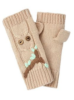 Embroidered Owl Fingerless Mittens