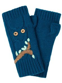 Yumi Embroidered Owl Fingerless Mittens