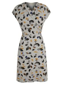 Feather Print Jersey Dress