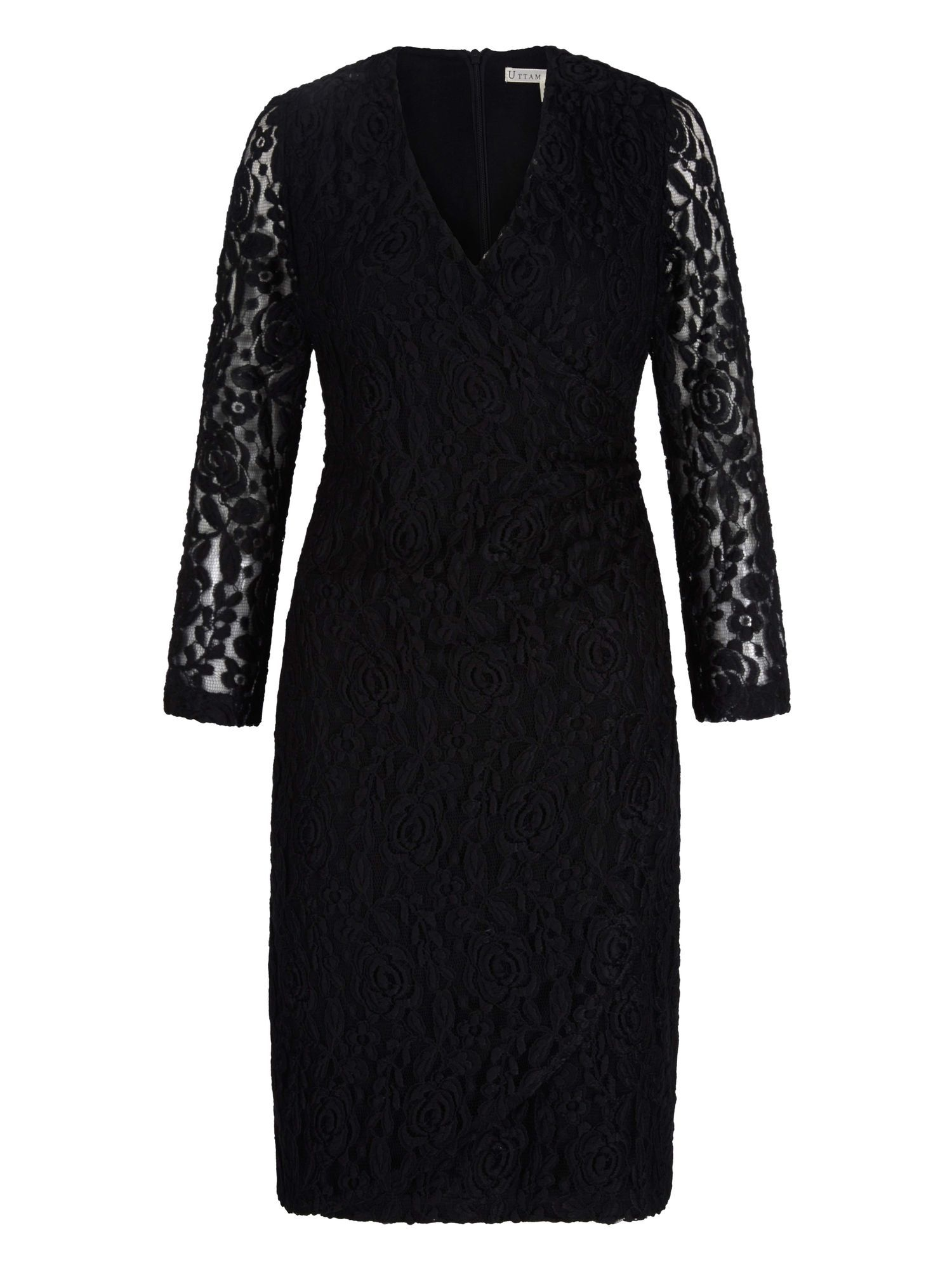 Uttam Boutique Lace Wrap Front Pencil Dress, Black