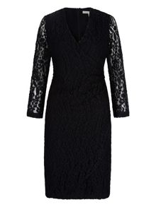 Uttam Boutique Lace Wrap Front Pencil Dress