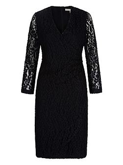 Lace Wrap Front Pencil Dress