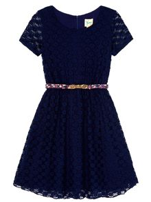 Yumi Girls Lace Skater Dress With Printed Belt