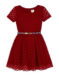 Lace Skater Dress With Printed Belt