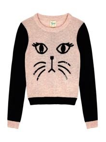 Yumi Girls Girls Cat Face Jumper