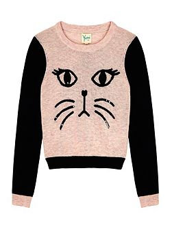 Girls Cat Face Jumper