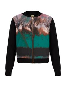 Tree Print Knitted Bomber Jacket
