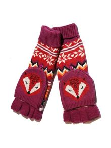 Yumi Fox Print Fingerless Mittens