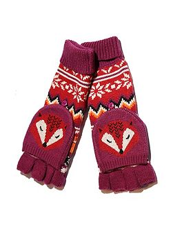 Fox Print Fingerless Mittens