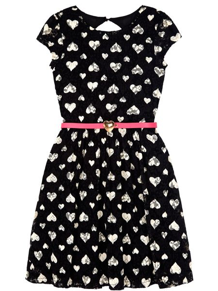 Yumi Girls Lace Heart Print Dress