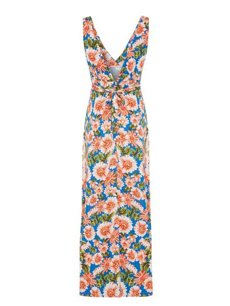 Mela London Floral Print V-neck Maxi Dress