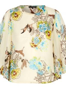 Mela Loves London Oriental Bird Print Top