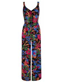 Mela Loves London Floral Print Button-Up Jumpsuit