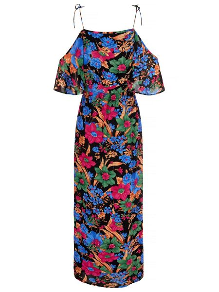 Mela London Floral Print Cold Shoulder Maxi Dress