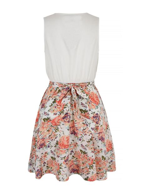 Mela London Floral Print 2-in-1 Peplum dress