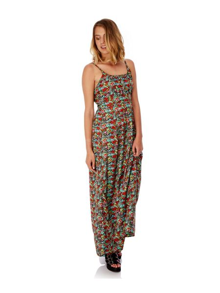 Yumi Ditsy Floral Print Maxi Dress