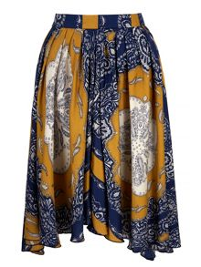 Handkerchief Print Asymmetric Skirt
