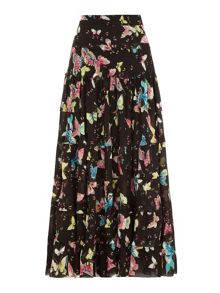 Butterfly Print Pleated Maxi Skirt