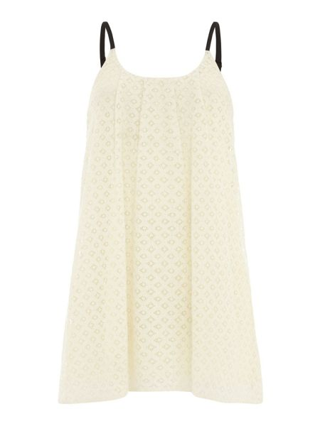 Mela London Broderie Anglaise Contrast Strap Dress