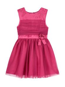 Uttam Girls Mesh Rose Party Dress