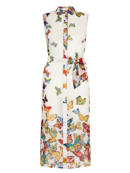 Yumi Butterfly Print Shirt Midi Dress