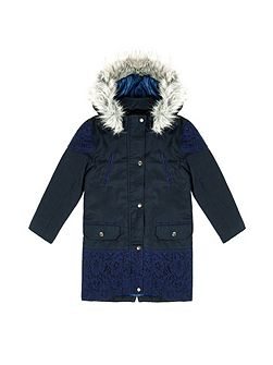 Girls Faux Fur Hood Parka Coat