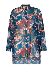 Owl and Flower Print Oversized Shirt