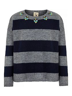 Stripe Embellished Jumper