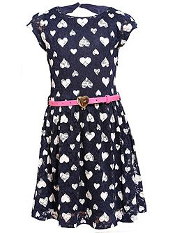 Girls Lace Heart Print Dress