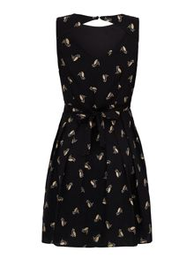 Yumi Gold Owl Print Skater Dress