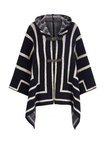 Hooded Stripe Print Cape Jacket